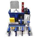 DEWEPRO® 20 teiliges Fliesenleger Waschset XXL - 22l Waschbox - Zahnkellen - Schwammbrett - Wasserwaage