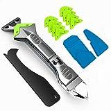 5 in 1 Silikon-Abdichtungswerkzeug (Edelstahlkopf), Dichtungsmittel, Fugenschaber, Wiederverwenden und Ersetzen von 5 Silikonpads, tolles Werkzeug für Küche, Badezimmer, Fenster, Spüle