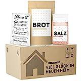 Einweihungsgeschenk für Wohnung und Haus, originelles Brot und Salz Geschenk zum Einzug im mini Umzugskarton, tolles Einzugsgeschenk für Haus und Wohnung