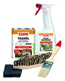Clou Teakholz Pflegeset: 750 ml Teaköl, 500 ml Holzreiniger, Bürste, Pinsel & Schleifpad, Holzpflege für Aussenbereich