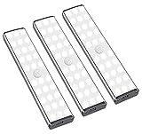 LED Schrankbeleuchtung mit Bewegungsmelder - 30LEDs Schranklicht, 3 Helligkeitsstufen, 3 Beleuchtungsmodi, USB Wiederaufladbar, Unterbauleuchte Nachtlicht für Küche Treppen Vitrine - 3 Pack