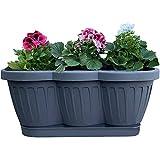 1er Set 40cm Blumenkasten Balkonkasten Pflanzkasten Anthrazit im Wellendesign inkl. passenden Bewässerungsuntersetzer