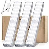 Schrankbeleuchtung mit Bewegungsmelder, Meromore 30 er LED Wiederaufladbar Schranklicht, USB Nachtlicht für Küche, Kleiderschrank, Treppe(3 Stück)
