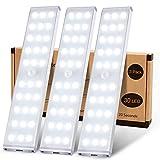 Schrankbeleuchtung, MEQLIN Super Helles 30 LED Schrankbeleuchtung mit Bewegungsmelder, Komplett-Beleuchtung Wiederaufladbare Schranklicht mit Bewegungsmelder, Küche Kleiderschrank Treppen Flur-3Pack
