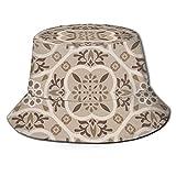 Yaxinduobao Bodenfliesen Ornament Braun Muster Druck 74 Eimer Hut Sommer Fischer Kappe für Frauen Männer