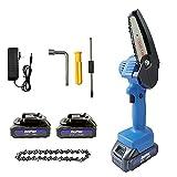 550W Mini Kettensäge, 4 Zoll Kabellos Elektrokettensäge, Tragbare Hand-Kettensäge mit 2 Akkus und Ketten, Astscheren Kettensäge zum Schneiden von Astholz, Blau
