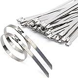 100 Stück Stahlkabelbinder, Edelstahl Kabelbinder mit Verriegelungsfunktion Silberner Edelstahl-Kabelbinder Edelstahl-Metallkabelbinder-Befestigungs 4,6*200mm