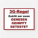 Hinweis Aufkleber Einlass nur 3G Regel geimpft genesen getestet Corona Digitaldruck Folie DIN A4