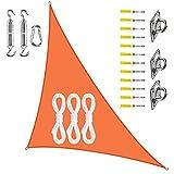 PYapron Sonnensegel Sonnenschutz Dreieck Polyester Windschutz Wetterschutz Wasserabweisend Imprägniert 95% UV Schutz mit Seilen und Befestigungs Kit für Outdoor Garten,#9,3x4x5m
