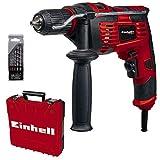Einhell 4259846 Schlagbohrmaschinen-Set TC-ID 720/1 E Kit (720 W, Bohren/Schlagbohren, 13 mm-Schnellspannbohrfutter, Drehzahl-Elektronik, inkl. 5-tlg. Bohrer-Set für Beton + E-Box Basic)