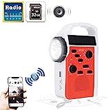 HTOUR Bluetooth Baustellenradio, Lautsprecher Notrufempfänger mit Solar Handkurbel Dynamo Mobile Stromversorgung Taschenlampe