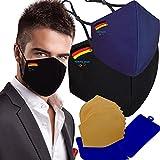 Cussi - Wiederverwendbare Hygiene-Gesichtsmaske, zugelassen UNE 0065:20, waschbar bis 20 Zyklen, 2 Olympische Masken von Tokyo 2020, Mask Case zufällige Farbe (Schwarz und Blau-Deutschland-Flagge).