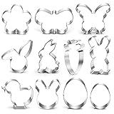 Plätzchen Ausstecher Ostern, 11 Stück Ausstechformen Ostern Set, Ausstecher Osterplätzchen, Ei Hase Plätzchenform Keksform Keksausstecher Oster Keks Backen, Plätzchenbacken mit Kindern