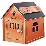 thematys Hundehütte aus Holz I Indoor Hunde-Haus I Schlafplatz für Haustiere I Wasserabweisend und stabil I Verschiedene Größen und Farben (L (59 x 43 x 59cm), Style 2)