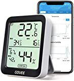 Govee Thermometer Hygrometer, Mini LCD Digital Thermometer Hygrometer Innen mit Benachrichtigungs Alarm, Präzise Hygrometer Temperatur mit APP, Datenspeicherung für Hausgarage Gewächshaus Weinkeller