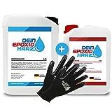 Epoxidharz mit Härter | 10,2kg GfK set | Profi Qualität glasklar & geruchsarm | Gießharz für Holz + Schutzhandschuhe