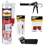 Pattex Haus & Bau weiß Bundle + Spritze + Spitzen + Fugenglätter + Fugenhai