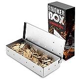 GerTong Räucherbox für BBQ Grill Holzspäne Verdickter Edelstahl Grill Rauchbox Heavy Duty Barbecue Grill Räucherbox zum Grillen auf Gasgrill oder Holzkohlegrill