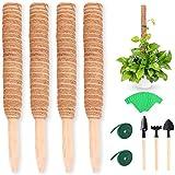 4 Stücke Kletterstock Set Pflanzstab Kokos Rankstab Rankhilfe Blumenstab mit Klett Kabelbinder für Monstera Pflanzen Kletterpflanzen 30cm Set