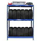 Certeo Reifenregal | HxBxT - 180 x 130 x 50 cm | Platz für bis zu 12 Reifen | Tiefe 50 cm | Garagenregal Kellerregal Werkstattregal