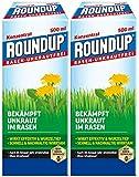 Roundup Rasen-Unkrautfrei Konzentrat, Spezial-Unkrautvernichter zur Bekämpfung von Unkräutern im Rasen mit sehr guter Rasenverträglichkeit, 2 x 500 ml für 660 m²