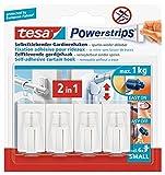 tesa Powerstrips Vario-Gardinenhaken / Selbstklebende Gardinenhaken von tesa - wieder ablösbar und mehrfach verwendbar / Bis 1 kg Belastung / 1 x 4 Stück / Weiß