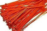 100x Kabelbinder Kabel Binder Orange Kabel Befestigung 4x150mm Klemmen Clips Neu