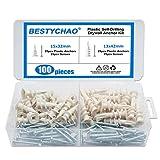 BESTYCHAO Hohlraumdübel Kunststoff für Gipskartonplatten,100 Stück 2 Größen Gipskartondübel Plus mit Linsenkopfschraube für Gipskarton und Gipsfaserplatten