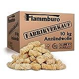 FLAMMBURO (10 kg) Öko-Anzündwolle direkt vom Hersteller, Holzwolle, zertifizierter Holz-Ursprung, FSC®-zertifiziertes Produkt, pflanzliches Wachs, ökologische Grillanzünder, Kaminanzünder, 10 kg