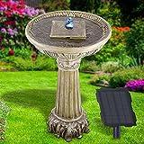 profi-pumpe.de Solar Gartenbrunnen Brunnen Zierbrunnen Zimmerbrunnen Springbrunnen Brunnen mit LED-Licht und Li-Ion-Akku Wasserfall Wasserspiel für Garten, Gartenteich, Terrasse