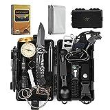 EgoIggo Survival Kit 18 in 1, Professionelles Überlebenspaket mit Outdoor Armband/Taschenlampe/Multifunktionalem Zubehör, Fantastische Survival Ausrüstung für Camping/Abenteuer/Wandern im Freien