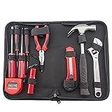 rosa Werkzeugset Handwerkzeug Kit Haushaltskit Home Installation und Wartung 16- teiliges Werkzeug Kit Combo Kit Grundlegende Haushaltswerkzeugkit mit Tragetasche Werkzeugkasten für Zuhause