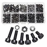 300-teiliges M3-Schrauben-Set Innensechskantschrauben, Muttern und Schrauben Set Hardware-Werkzeuge mit Kunststoffbox, Maschinenschrauben für 3D-Drucker metrische Maschine, Unterlegscheiben, Schwarz