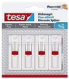 tesa Verstellbarer Klebenagel (für Tapeten und Putz 1 kg, Höhenverstellbarer, selbstklebender Wandnagel, bis zu 1 kg Halteleistung pro Nagel) 4er Pack