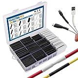 electrapick Schrumpfschlauch Set 300stk Kabel Reparaturset mit Kleber Schrumpfverhältnis 3:1, Doppelwandig Selbstklebend Gefüttert, 7 Größen, 2 Farben (Schwarz, Weiß)