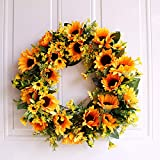 40 cm Künstlicher Sonnenblumenkranz mit gelben Sonnenblumen und grünen Blättern, Seiden-Türkranz für den Sommer, Frühlingskranz, Dekoration für die Haustür, Hochzeit, Heimdekoration