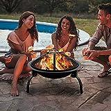 Amagabeli Feuerschalen für den Garten 52cm Feuerstelle Feuerschale mit Funkenschutz Grillrost Feuerhaken Abnehmbar Metall Feuerkorb Multifunktional Fire Pit für BBQ/Heizung/Terrasse