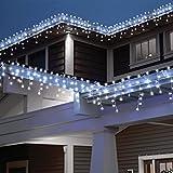 [240 LED] Lichterkette, 9M 8 Modi Lichterkette Außen Strom Weihnachtsbeleuchtung Wasserdicht Außen/Innen LED Lichterkette mit Memory-Funktion für Garten Balkon Weihnachtsbeleuchtung Außen, Kaltweiß