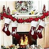 TongICheng 1pcs Weihnachtsdeko Socken mit Muster Multifunktionale Socken-Geschenk-Beutel-Kamin-Verzierungen für Heim Weihnachtsbaum-Dekoration, Stil B