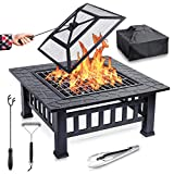 Feuerschale mit Funkenschutz & Grillrost - für wohlige Wärme & wundervoll gesellige Abende an der Feuerstelle - ideale 2in1 Grill Feuerschalen für den Garten [Feuerschale mit Grillrost+Grillzange]
