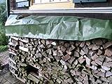 NOOR Holz-Abdeckplane Easy 90g/m² ca. 1,50 x 6m I Grüne, wasserdichte Abdeckung für Brennholz I Langlebige Schutzplane mit Ösen