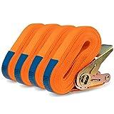 MOOcom! 4er Set Spanngurte Zurrgurte mit Ratsche einteilig - EN 12195-2 - 6 Meter lang bis zu 800kg – Spanngurt zur Ladungssicherung (Polyester, 6 Meter)