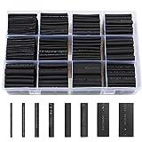Schrumpfschlauch Schwarz Schrumpfschläuche Set 650tlg, LIBERRWAY Heat Shrink Tube Wire Wrap Sortiment Verhältnis 2:1 Verschiedene Größen Assortment in Einer Kiste