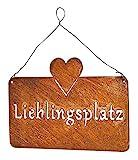 levandeo Schild Lieblingsplatz 25x16cm Herz Garten-Deko Rost Rostdeko Türschild Wandbild Schriftzug Wanddeko