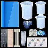 ANSUE Silikon-Messbecher für Epoxidharz, 250 ml, große Harzmischbecher, wiederverwendbar, 130-teiliges Harz-Werkzeug-Set mit Silikonmatte und holografischem Glitzer