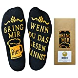 Youcusone Bier Socken, Gekämmter Baumwolle Lustige Socken WENN DU DAS LESEN KANNST BRING MIR BIER/WEIN,Weihnachten Geschenkidee für herren, Frauen, Geschenk bester Freund, Schwarz, M