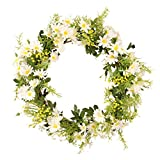 Efitty Frühlingskranz, künstliche Gänseblümchen, Kranz für Haustür, Gänseblümchen, Kränze für Haustür, Außen, Simulationsgirlande, Rattan-Blumenornament, Kunstkranz, 35 cm
