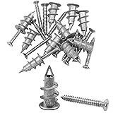 20 Set Baven Gipskartondübel Metall 35mm Rigipsdübel mit Schraube Rigipsdübel Gipsdübel Hohlwanddübel Dübel, Gipskarton Dübel für Gipskarton und Gipsfaserplatten