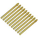 Timagebreze 10 StüCke Titanium Keramik Glas Bohren Bit Wolframcarbid Kreuz Speer Kopf Bohr Werkzeuge 6Mm für Metall Kunststoff Fliesen Zement