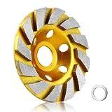 10,2 cm Beton Stein Keramik Turbo Diamantschleiftopf Schleifteller 12 Segs Heavy Duty Winkelschleifer Räder für Winkelschleifer (gelb)